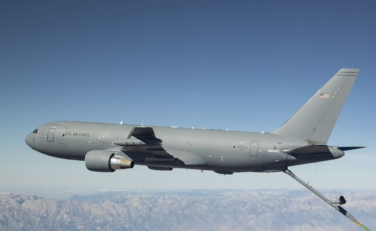 Boeing's KC-46A Pegasus tanker refuels an F-15E aircraft during Phase II receiver certification testing out of Edwards Air Force Base, Calif. A Boeing/U.S. Air Force team completed receiver certification with F-16, KC-135, C-17, A-10, KC-46, B-52, F/A-18 and F-15E aircraft. (Photo: Boeing)