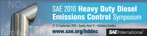 SAE 2010 Heavy Duty Diesel Emissions Control Symposium September 21-22, 2010 Quality Hotel 11 Gothenberg, Sweden