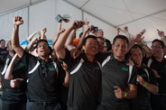 Cal Poly Pomona team members celebrate their third-place overall finish.