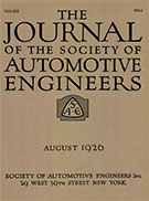 Journal of the S.A.E. 1926-08-01 - August 01, 1926